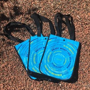 SET OF 3-Lululemon limited reusable snap tote bag.